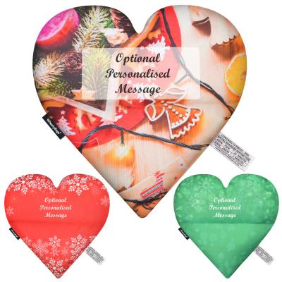 Wheat Bags Love Heart Shaped Heat Pack (Personalised with Designer Print Options) Montage Image Showing All Colour Options