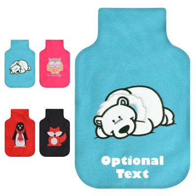 Hot Water Bottle Cover with Animal Embroidery Montage Image with Text