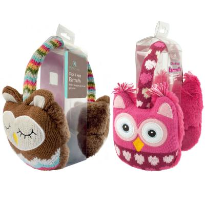 Earmuffs in Pink and Brown Knitted Owl Design with (Click-Heat) Warming Insert
