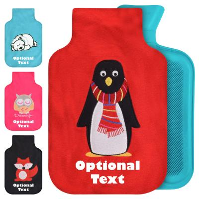 Hot Water Bottle Cover with Personalised Text & Free Rubber Bottle