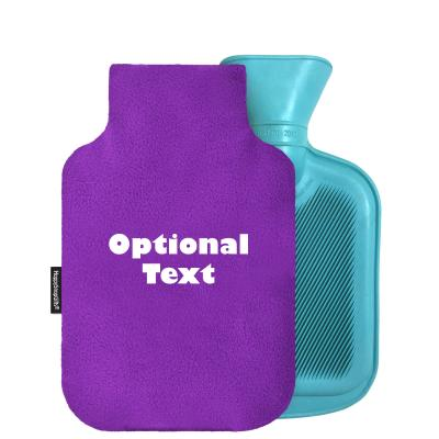 personalised mini hot water bottle mini 750ml fleece fabric and removable cover personalised with text