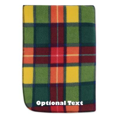 (100cm x 70cm) - Tartan Colour Check Fleece Fabric (Personalised with Text)