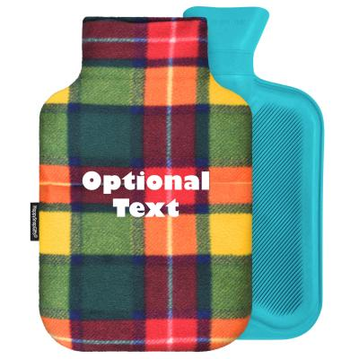 - 2 Litre Generic from Stock Available Colours - Tartan Check Fleece Fabric Removable Cover (Personalised with Text)